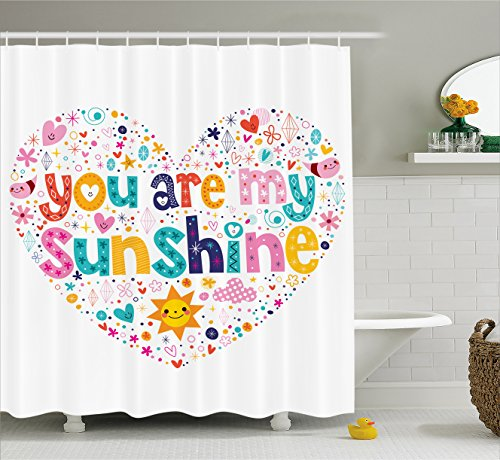 Ambesonne Quotes Decor Shower Curtain, Heart Shaped Sunshine Motivational Quote with Stars Circle Sun Cloud Infant Decor, Fabric Bathroom Decor Set with Hooks, 70 Inches, Multi