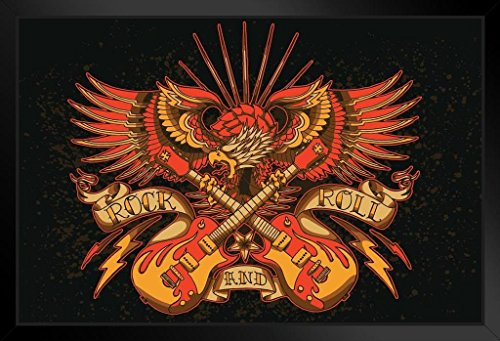 Rock and Roll Eagle Holding Guitars Banner Art Print Framed Poster 20x14 inch ()