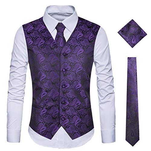 WULFUL Men's 3pc Paisley Vest Necktie Pocket Square Set for Suit or Tuxedo (Purple, L(Chest -