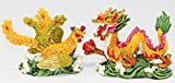 "Feng Shui Pair of 2.5"" Phoenix Dragon Statue Figurine Marriage Luck Wedding Lovers' Gift"