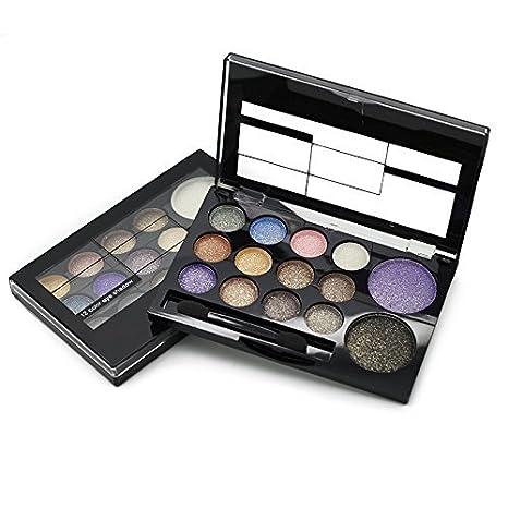 Rihao - Paleta de sombra de ojos, colores cálidos brillantes neutrales, sombra de ojos de 12 colores + colorete de 2 colores con cepillo y espejo: ...