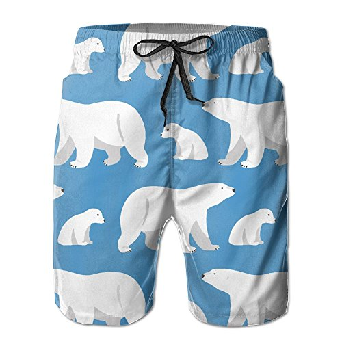 - AP.Roon Men's Boy's Print Quick Dry Swim Trunk Polar Bear In Blue Beach Trunks With Mesh Lining Large