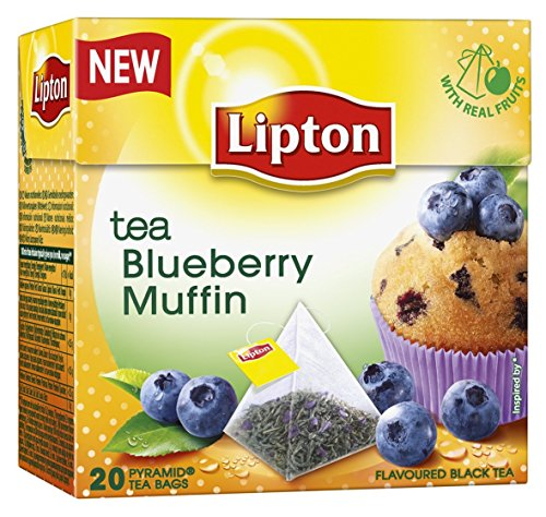Lipton Black Tea - Blueberry Muffin - Premium Pyramid Tea Bags (20 Count Box)