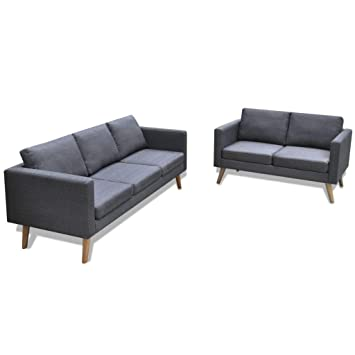 vidaXL Set de Dos sofás de Tela Grises Oscuros 2 plazas 3 ...