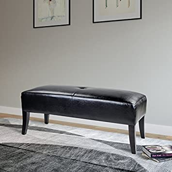 CorLiving LAD-605-O Antonio Bench in Black Bonded Leather