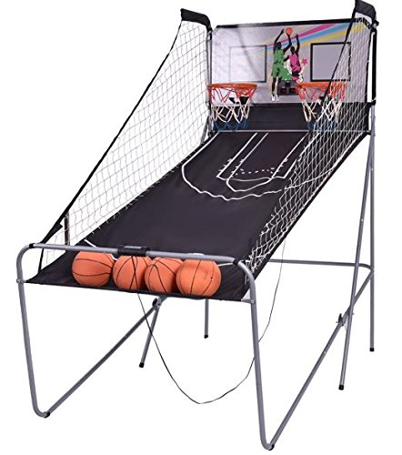 K&A Company Basketball Game Double Electronic Indoor Arcade Hoops 2 Player Shot Kids Sports with 4 Balls by K&A Company