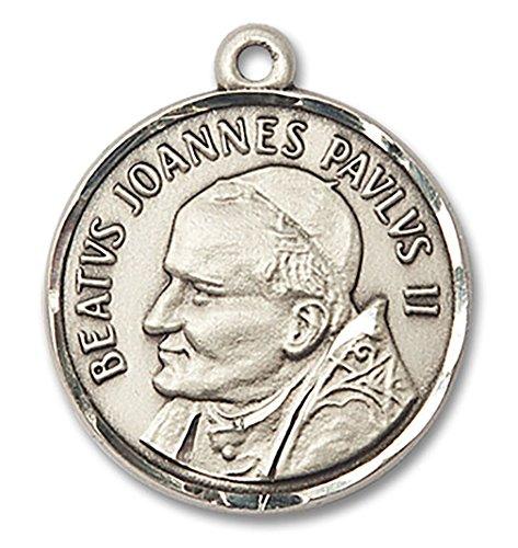 Pope John Paul Pendant Medal - Men's Round Sterling Silver St. Pope John Paul II Medal - Pendant Only