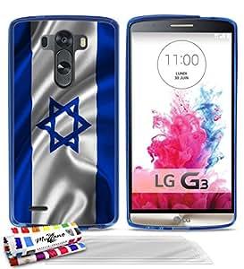 Carcasa Flexible Ultra-Slim LG G3 D851 de exclusivo motivo [Bandera Israel] [Azul] de MUZZANO + 3 Pelliculas de Pantalla UltraClear + ESTILETE y PAÑO MUZZANO® REGALADOS - La Protección Antigolpes ULTIMA, ELEGANTE Y DURADERA para su LG G3 D851