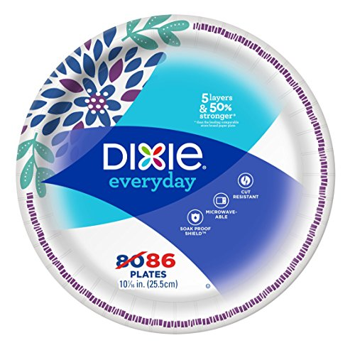 "Dixie Everyday Dinner Plates, 10 1/16"", 86 Count, Dinner Size Printed Disposable Plates"