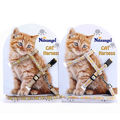 Niteangel 2-Pack of Adjustable Cat Harness with Leash (Silver & Golden)
