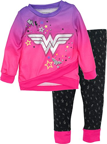 (Wonder Woman Toddler Girls' Fleece Hi-Low Top and Leggings Set, Pink)