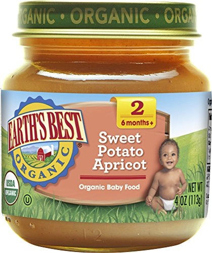 Earths Best Organic Stage 2 Baby Food, Sweet Potato and Apricot, 4 oz. Jar (Pack of 12)