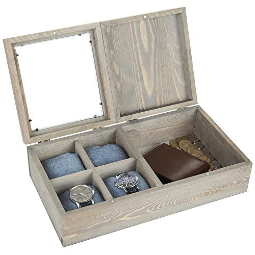 MyGift Rustic Pine Wood Watch Box Case with 4 Pillows/Jewelr