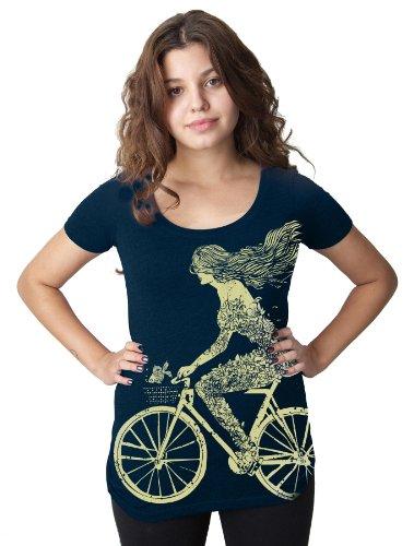 Clockwork Gears Women's Mermaid Cycling T-Shirt, Navy, Large
