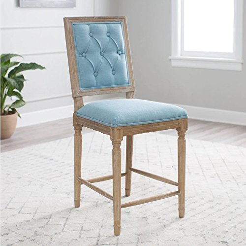 Counter Stool. Comfortable 4 Leg Tall Seat, Best Upholstered Tufted High Back Bar Breakfast Chair W/ Wooden Frame For Living Room & Kitchen. Cool Modern Contemporary Furniture For Home French (Nylon Upholstered Bar Stool)