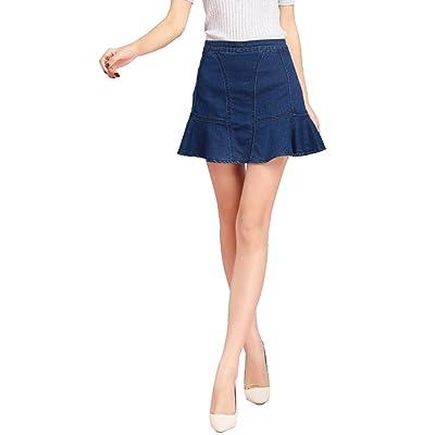 Allonly Women's Fashion A-Line Slim Fit High Waisted Denim Jean Flounce Hem Mini Skirt