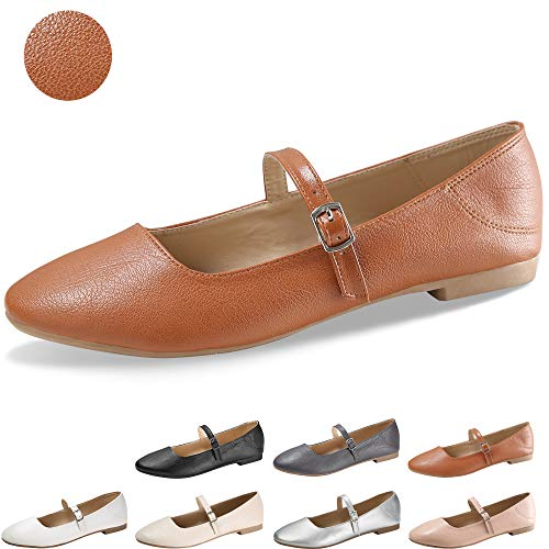 CINAK Flats Mary Jane Shoes Women's Casual Comfortable Walking Buckle Ankle Strap Fahion Slip On (5-5.5 B(M) US/ CN37 / 9.2, Brown)