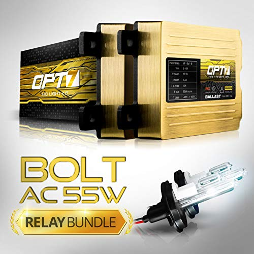 OPT7 Bolt AC 55w Hi-Power 9007 Hi-Lo HID Kit - Relay Bundle - All Bulb Sizes and Colors - 2 Yr Warranty [5000K Bright White Xenon Light]