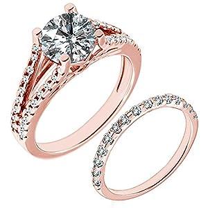 1.16 Carat G-H I2-I3 Diamond Engagement Wedding Anniversary Halo Bridal Ring Set 14K Rose Gold