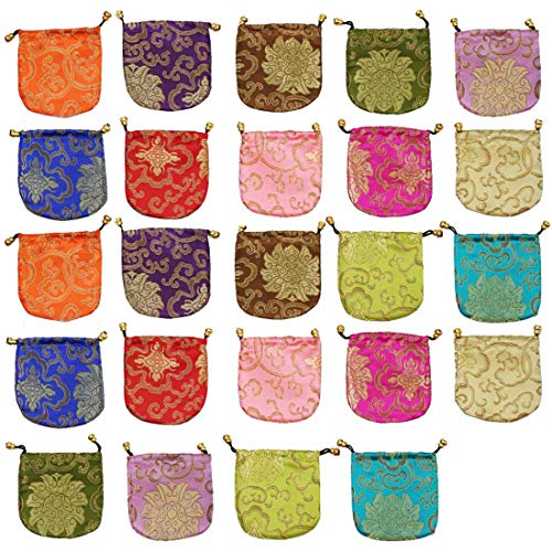 kilofly Chinese Silk Brocade Drawstring Jewelry Pouch Bag Value Set, 24 pcs from kilofly