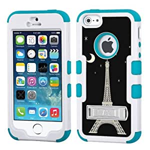 One Tough Shield ? Hybrid 3-Layer Kick-Stand Case (White/Teal) for Apple iPhone 5 5s - (Eiffel Tower Moon)