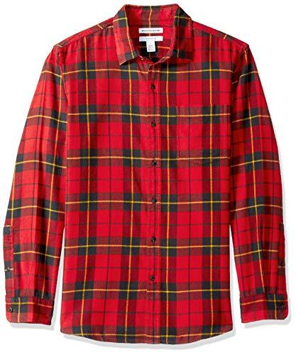 (Amazon Essentials Men's Slim-Fit Long-Sleeve Plaid Flannel Shirt, Red/Yellow, Medium )