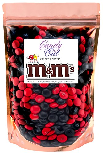Red and Black m&m 1 Pound Milk Chocolate Candy in Sealed Stand-up -