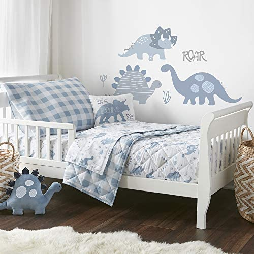 Levtex Baby Dino Toddler Bed Set Shades Of Blue And Grey Dinosaur 5 Piece Set Includes Reversible Quilt Fitted Sheet Flat Sheet Pillow Case Decorative Pilow Amazon Ca Baby