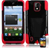 ZTE MAJESTY Z796C BLACK RED HYBRID T KICKSTAND COVER HARD GEL CASE + FREE SCREEN PROTECTOR from [ACCESSORY ARENA], Best Gadgets