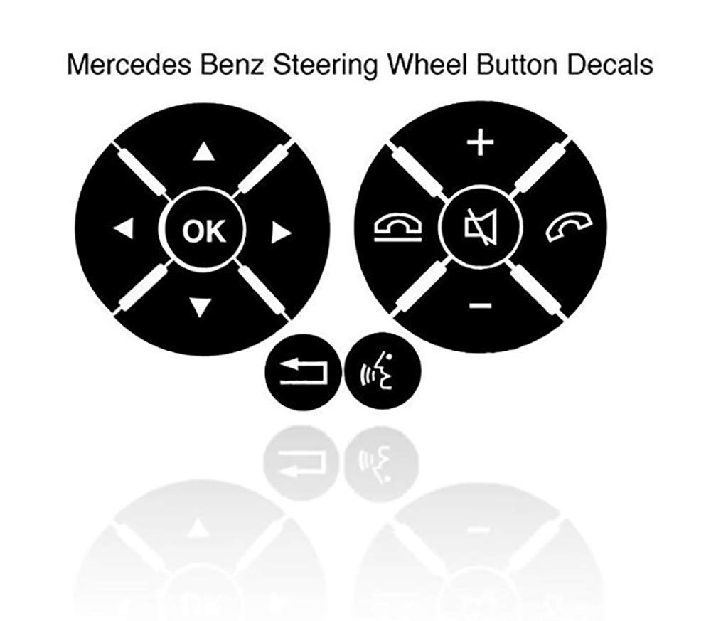 V3 Mercedes Benz Matte Black Steering Wheel Button Repair Decals Stickers