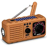 Solar Crank Emergency Radio, YEZRO NOAA/AM/FM Portable Weather Radios with Flashlight, SOS Alarm, USB Phone Charger, MP3 Player, 2200mHA Power Bank for Home Outdoor (Yellow)