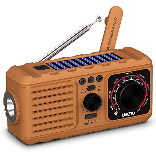 Solar Crank Emergency Radio, YEZRO NOAA/AM/FM Portable Weather Radios with Flashlight, SOS Alarm, USB Phone Charger, MP3 Player, 2200mHA Power Bank for Home Outdoor (Yellow)
