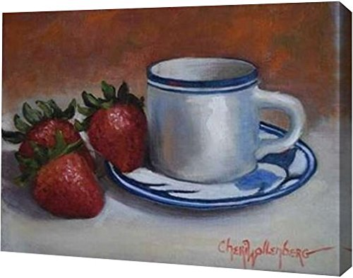 "PrintArt GW-POD-48-CW1078-12x9 ""Strawberries and Cup and Saucer"" by Cheri Wollenberg Gallery Wrapped Giclee Canvas Art Print, 12"" x 9"""