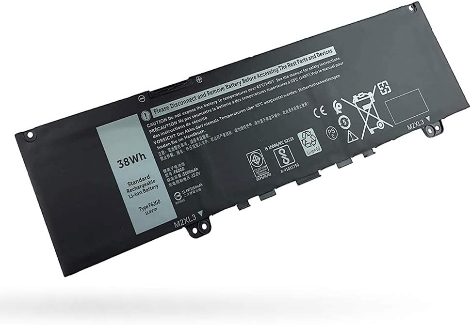 F62G0 Battery for Dell Inspiron 13 7380 7370 7373 7386 Series, Vostro 13 5370 D1505G Series RPJC3 39DY5 F62GO P83G D1525S R1605S P83G001 P83G002 D1505G D2505G, 11.4V 38WH
