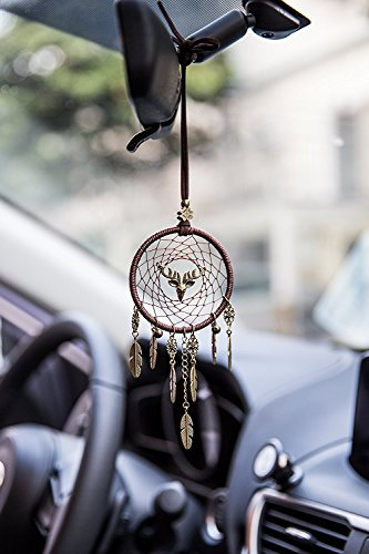Deer Dream Catcher Car Charm Rear View Mirror Accessories, Boltz Handmade Pendant Ornament Wall Hanging Home Decoration Christmas Gift (brown web)