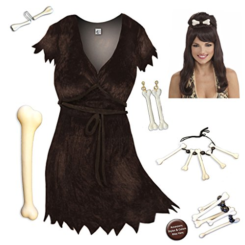Cave Woman Plus Size Supersize Halloween Costume Deluxe Brown Wig Kit -