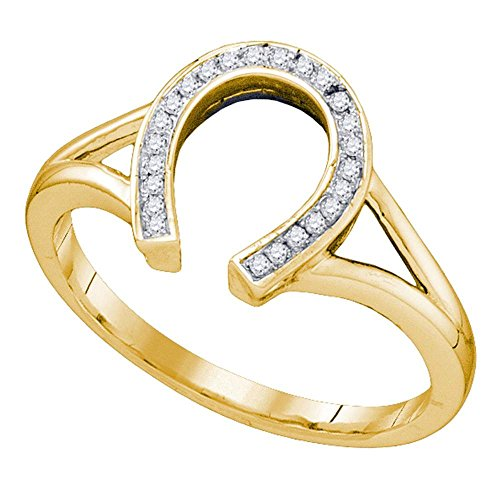 Horseshoe Ring Diamond Ladies (Jewels By Lux 10kt Yellow Gold Womens Round Diamond Horseshoe Lucky Ring 1/12 Cttw Ring Size 8.5)