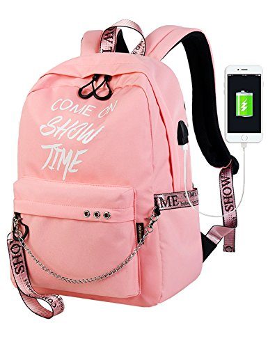 El-fmly Fashion Luminous Backpack with USB Port,College School Bags Backpacks Girls Denim Cute Bookbags Student Backpack School Laptop Backpack Bag Pack Super Cute for School for Teenage - (Elle Girl)
