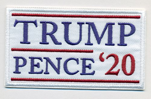 Trump - Pence 2020 White Embroidered Sew or Iron-On Patch - Shipped from USA