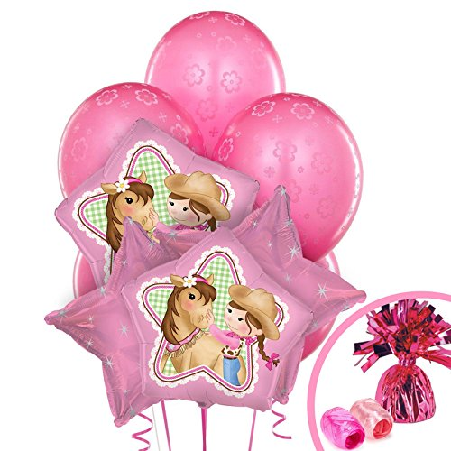 Pink Cowgirl Party Supplies - 1st Birthday Balloon Bouquet (Cow Girl Party Decorations)