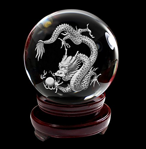 IFOLAINA 3D Subsurface Laser Engraving Chinese 12 Zodiac Signs Dragon Crystal Glass Ball with Wooden Stand 80mm (Chinese Dragons)
