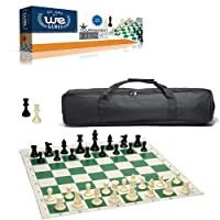 WE Games Complete Tournament Chess Set – Plastic Chess Pieces with Green Roll-up Chess Board and Travel Canvas Bag
