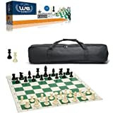 WE Games Complete Tournament Chess Set - Plastic Chess Pieces with Green Roll-up Chess Board and Travel Canvas Bag