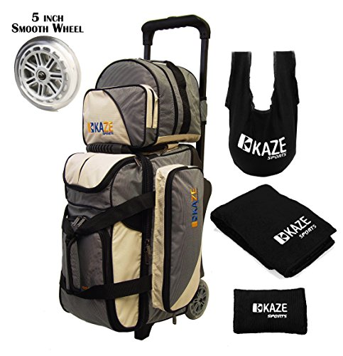 KAZE SPORTS 2 Ball Bowling Roller with Color Match Add On Spare Tote and Accessories Pack (Cream) ()