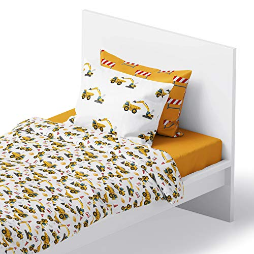 Chital 4Pc Full Linen Sheet Set - Cute Construction Tractor Print - Flat & Fitted Sheets with 2 Pillowcases for Kids Boy Girl Teen & Adult - Super Soft Microfiber - Fits Bed Size 54x75x15 Inches Deep
