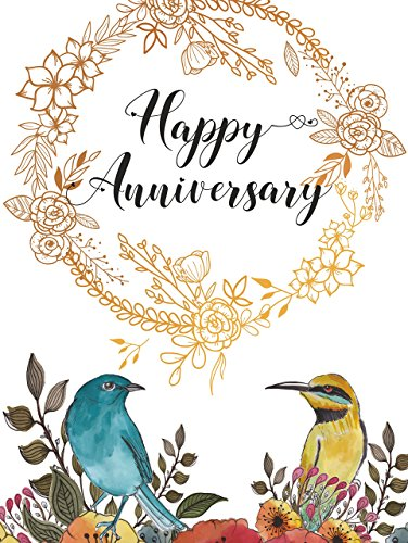 Happy Anniversary Decorations Gift Ideas Wall Art UNFRAMED POSTER A3 Work 50th Wedding Marriage Anniversary Gold Floral -