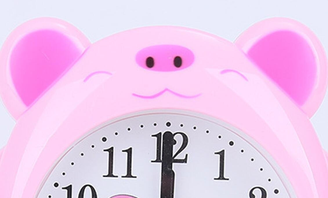 Huhgue Bell Alarm Clock for Kids Lovely Animal Pig Silent Alarm Clock for Kids Children Students (Pink)