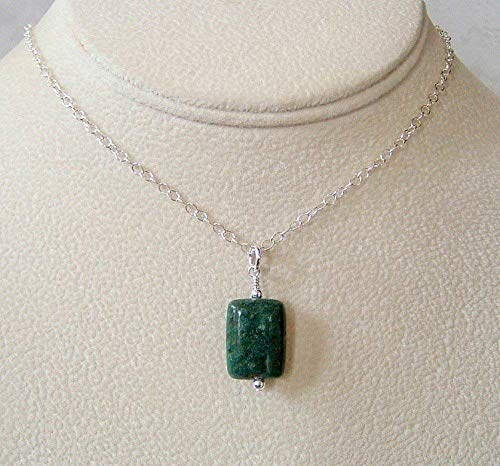 Green Muscovite Rectangle Sterling Silver 18 Inch Necklace Gift ()