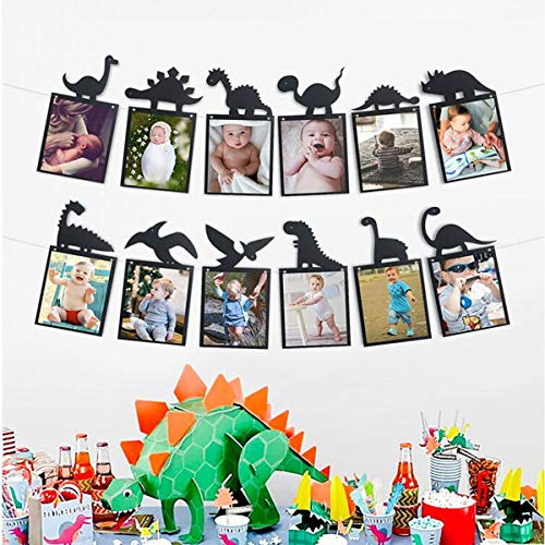 Birthday Banners With Photo Personalized (EHIOG Dinosaur Party Happy Birthday Photo Banner Sweet 12 Month Banner 1st Baby Shower Baby First Birthday Kids Bday Picture Photo Booth Personalized DIY Banner Party Decorations -)