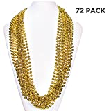 (72 Pack) 33'' Inch Round Metallic Mardi Gras Party Necklace Beads (Gold)
